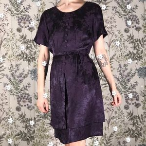 Vintage Silky Unique Purple Cute Modest Mini Dress